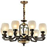 LAMP-XUE Retro Antiguos de época Grandes lámparas de araña iluminación de Techo LED del Accesorio Ligero Colgante para Villa Salón E27 Bombillas de Altura Ajustable,10 Heads