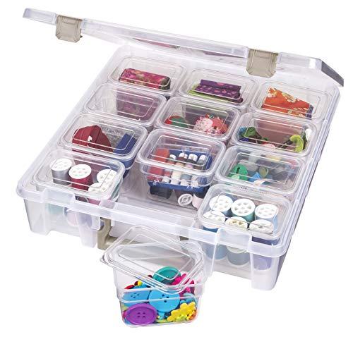 ArtBin 6965AH Super Satchel, Art & Craft Supply Storage Organizer with 12 Bins Inside, Clear, 1 Pack, Clear & Gold