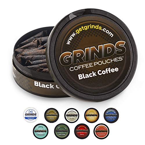Grinds Coffee Pouches | 3 Cans of Black Coffee | Tobacco Free, Nicotine Free Healthy Alternative | 18 Pouches Per Can | 1 Pouch eq. 1/4 Cup of Coffee (Black Coffee)