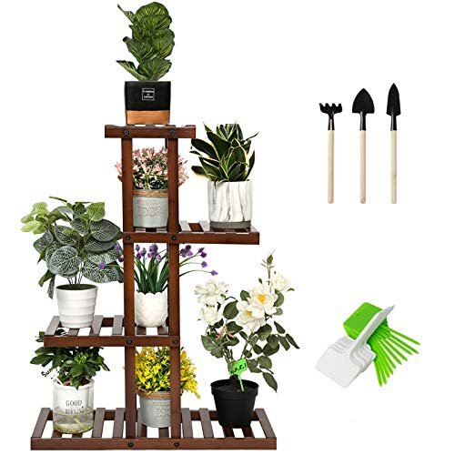 SHALLWE Bamboo 4 Tier 8 Potted Plant Stand, Indoor Outdoor Corner Multiple Flower Pot Holder Shelf Rack, Multi-Level Planter Display Table Shelves for Patio Garden Living Room Balcony Window