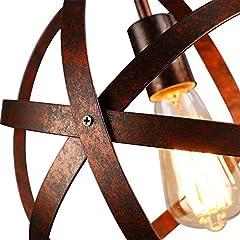 Vintage Industrial Spherical Pendant Light Metal Globe Chandelier Retro Cage Ceiling Light Rustic Hanging Light Fixture for Living Room Dining Room Hallway #3