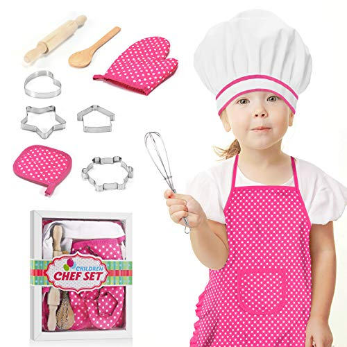 dmazing Giochi Bambina 4 5 6 7 Anni, Regali per Bambini Grembiule Cucina Bambina Giocattoli Bimba 4-8 Anni Cucina Giocattolo per Bambini Regali di Compleanno Regalo di Pasqua Bambini Rosa