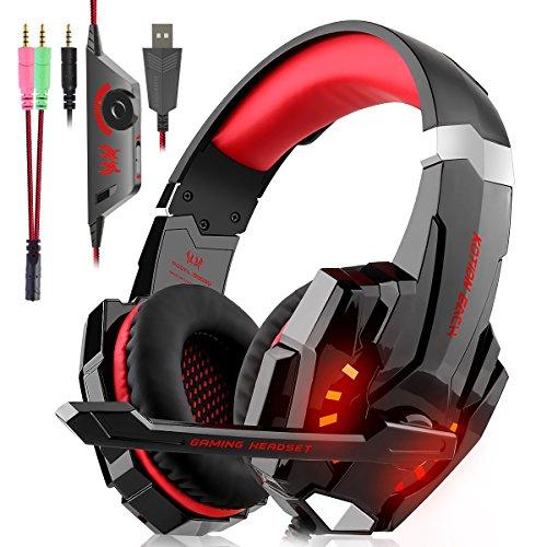 Cuffie Gaming per PS4, Cuffie Over Ear Cuffie Cancellazione Rumore con Microfono Controllo del Volume e Luce LED Cuffie da Gaming per PS4 Xbox One Nintendo Switch PC Laptop (Rosso)