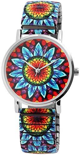 Excellanc llanc Mujer Reloj Flores Mandala Cordón Tren Pulsera Metal Reloj de Pulsera Reloj de Pulsera