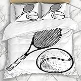 Juegos de fundas nórdicas Sports Sketch Doodle Pelota de tenis Raqueta Torneo Recreación Raqueta Campeón Competencia Doble ropa de cama de microfibra con 2 fundas de almohada Cuidado fácil Anti-alérgi