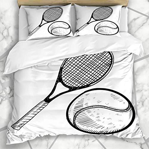 Juegos de fundas nórdicas Deportes Sketch Doodle Pelota de tenis Raqueta Torneo de recreación Campeón de raqueta Competencia Doble ropa de cama de microfibra con 2 fundas de almohada Fácil cuidado Ant