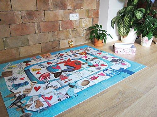 Laroom Alfombra Vinílica Infantil Diseño Laberinto, Vinilo Antiliscante, Multicolor, 100x133 cm