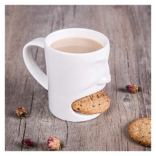 Taza de café con bolsillo de galleta Taza de té de cerámica con soporte de postre de galletas Tazas de leche divertida Tazas de café para el hogar Oficina Transporte Webware ( Color : B )