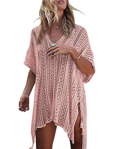 Walant Femmes Dentelle Crochet Blouse Maillot de Bain Taille Tunique Kimono Bohême Bikini Poncho Plage Cache-Maillots Robes de Plage Cover Up, Rose, Taille unique