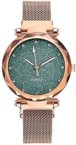 JZDH Reloj de Pulsera, Reloj Deportivo Personalizado de Starry Sky Pattern Ladies. Reloj de Cuarzo de Tipo de Banda magnético de Malla. Dial Redondo de 34 mm. Material de aleación