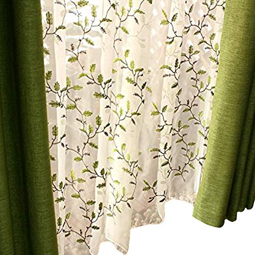 FADFAY Floral Embroidered Semi Sheer Curtains Botanical Design Elegant Green Leaves White Sheer American Country Style Room Darkening Window Curtain Panel Pair, Set of 2, 54 x 95, Rod Pocket Style