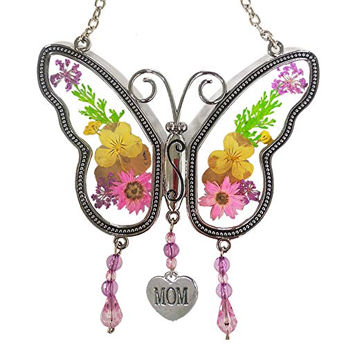 KOLIN Mom Butterfly Mother Suncatcher with Pressed Flower Wings - Butterfly Suncatcher - Mom Gifts...