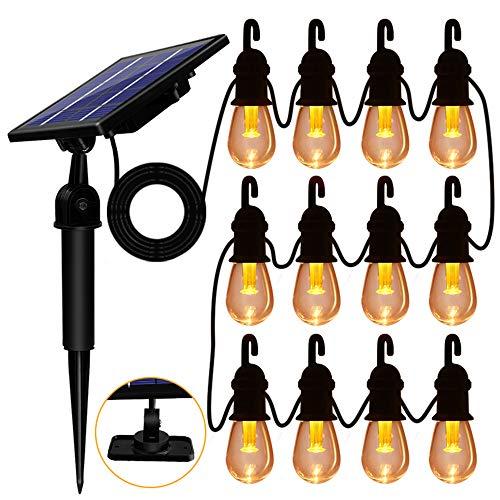 12 Bulbs Solar Light String Waterproof Edison 48FT Solar Bulb Lights Decoration Lighting for Graden Yard Patio Tree Warm White