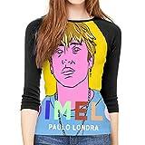 MeiShop Camisetas de Manga Tres Cuartos para Mujer Custom Paulo Dimelo LON-dra Raglan T-Shirts Front Print Three Quarter Sleeve T-Shirts tee For Women