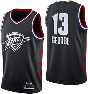 Maglietta Swingman Ricamata Unisex Senza Maniche Thunder # 13 di Oklahoma City Lavabile ripetutamente JQER Maglia da Basket Paul George da Uomo