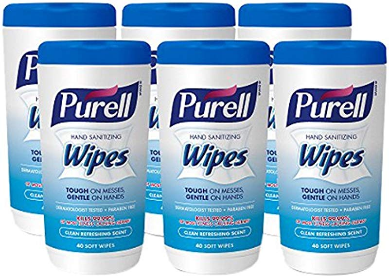 PURELL Hand Sanitizing Wipes Clean Refreshing Scent 40 Count Non Alcohol Sanitizing Wipes Canister Pack Of 6 9120 06 CMR