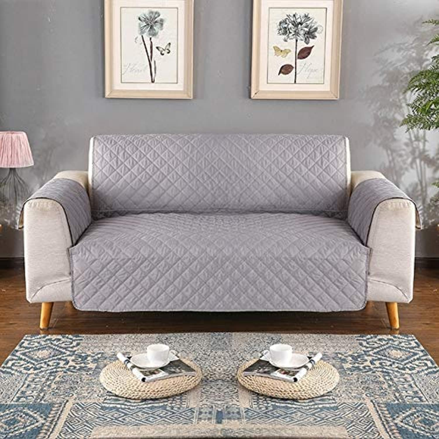 Farmerly Waterproof oilproof Sofa Cover Washable Removable Towel Armrest Couch Covers Slipcovers Couch Dog Pets Single Two Three Seater   Grey, M 116x190cm
