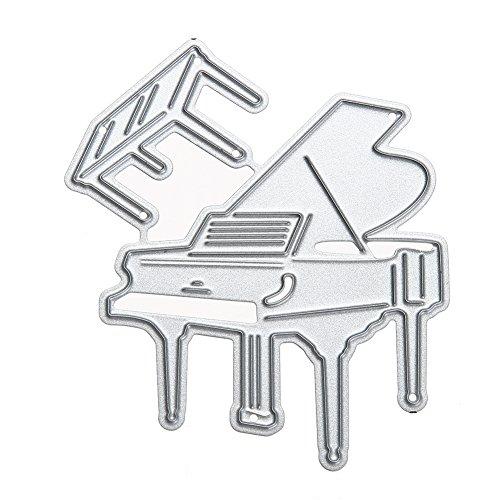 Culater Deze stanssjablonen voor scrapbooking, reliëf, reliëf, reliëf, gravering, Matefielduk Het soort papierpapier, motief: Piano