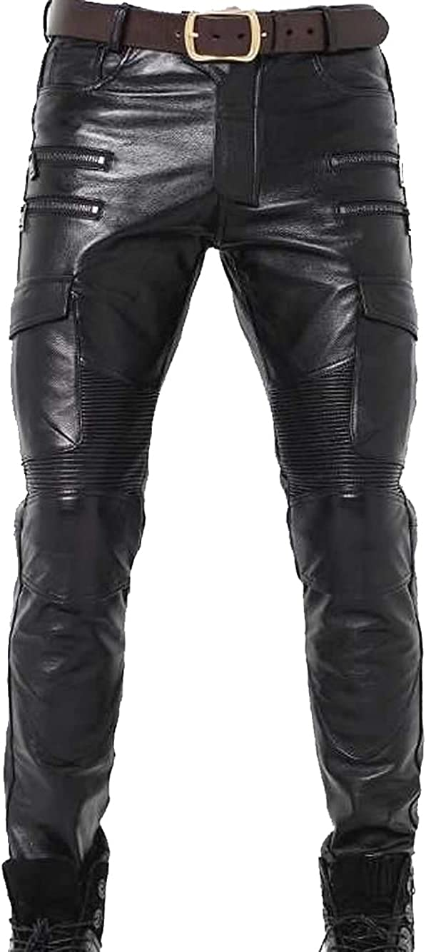 Men's Genuine Free Shipping New Cowhide Leather Pants Biker Slim Columbus Mall Trouser