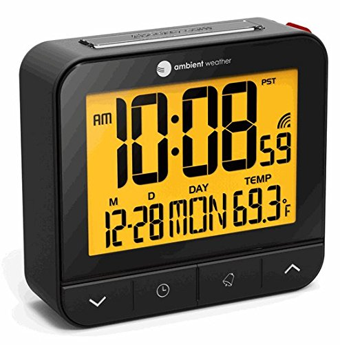 Ambient Weather RC-8487 Atomic Travel Compact Alarm Clock with Auto Night Light Feature