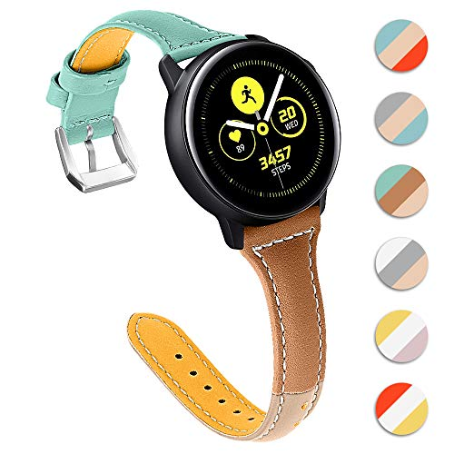 XZZTX Lederen Band Compatibel met Samsung Galaxy Watch Active, 22mm Echt Lederen Vervangende Band Polsband Compatibel met Galaxy Watch Active/Galaxy Watch 46mm