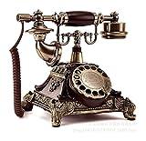 Teléfono creativo decorativo retro Resina imitación cobre vintage teléfono fijo...