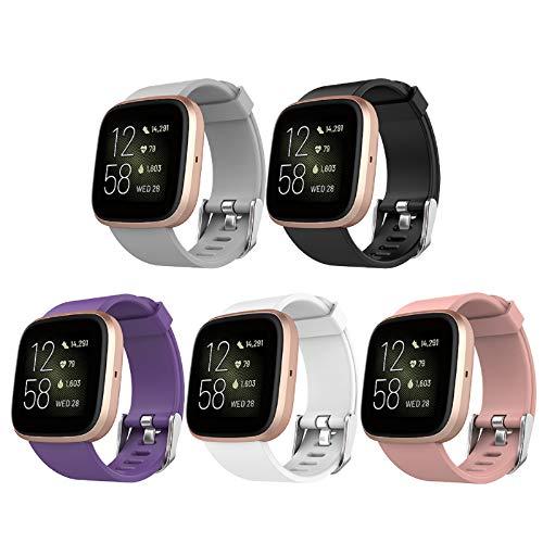 Simpeak 5-Stück Armband Kompatibel für Fitbit Versa 2 / Versa/Versa Lite, Groß Silikon Verstellbaren Soft Armbänder Kompatibel mit Fitbit Versa 2 Sport Uhrenarmband