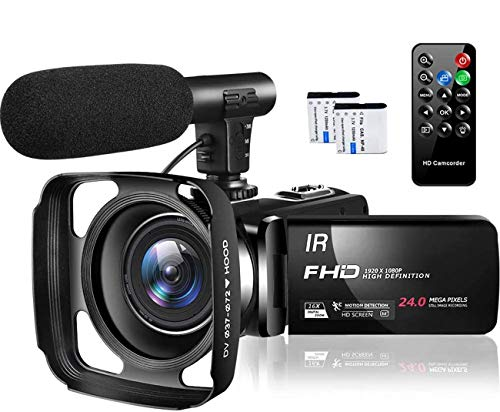 Video Camera Camcorder Full HD 1080P 30FPS 24MP Vlogging Camera for...