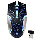Wireless Gaming Mouse, VEGCOO C8 Silent Click Wireless Rechargeable Mouse with Colorful LED Lights and 2400/1600/1000 DPI 400mah Lithium Battery for Laptop and Computer (C8N Black)