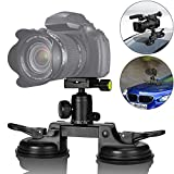 Heavy Duty DSLR / Mirorrless Camera Suction Cup Car Mount Professional Camcorder Vehicle Holder w/Quick Release 360°Panorama Ball Head Compatible with Nikon Canon Sony for Hi-Speed Motion Photography