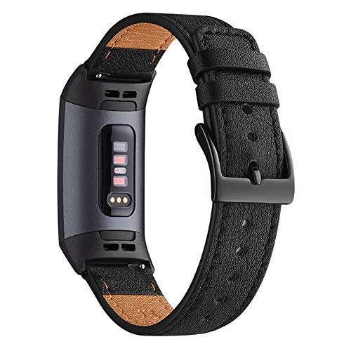 WFEAGL Armband Kompatibel für Fitbit Charge 3 Armband/Fitbit Charge 4 Armband Leder, Klassisch Einstellbares Ersatzarmband Sport Kompatibel für Fitbit Charge 3/4(Schwarz+Schwarz Adapter)
