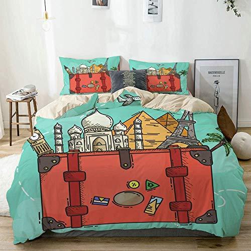 Set copripiumino beige, luoghi turistici nel bagaglio, set di biancheria da letto decorativo 3 pezzi con 2 fodere per cuscini Easy Care Anti-allergico Morbido Liscio