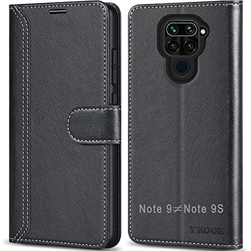 ykooe Handyhülle für Xiaomi Redmi Note 9 Hülle, Hochwertige PU Leder Handy Schutz Hülle für Xiaomi Redmi Note 9 Flip Tasche, Schwarz