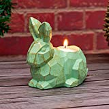 HAOLIVE Wooden Candle Holder Resin Tea Light Candle Holders Natural Wooden Planter Flower Pot for Rustic Christmas Wedding Party Birthday Decoration (Rabbit Candle Holder)