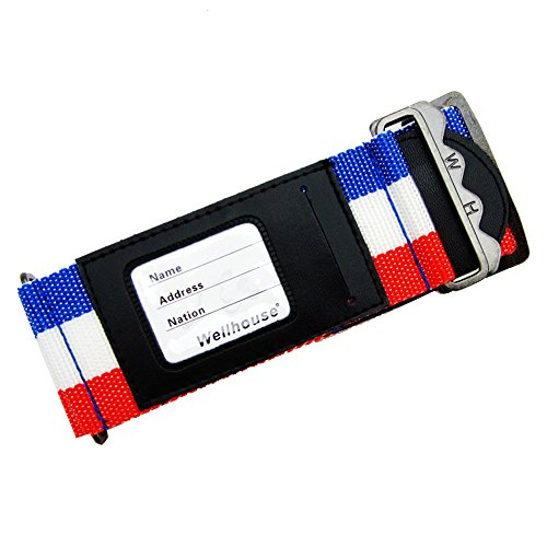 Wellhouse Luggage Strap Suitcase Belt Travel Accessories Bag Straps, Travel Gear Strap for Woman and Men WH-0050 (French Flag Color)