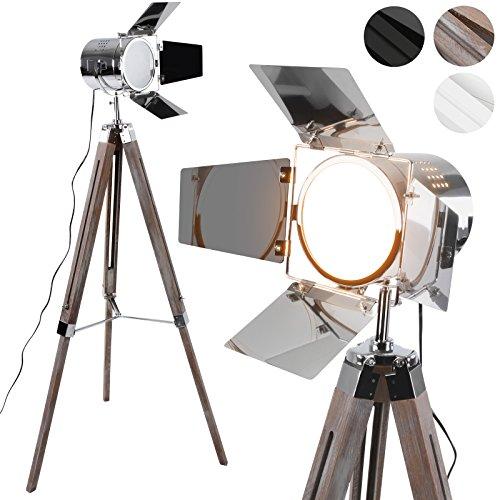 Lámpara de Pie Proyector con Trípode de Madera - CEE: A++ a E, Diseño Foco Cinema, Altura regulable, Estilo Vintage y Retro - Iluminacion de Lectura, Lámpara de Suelo, de Salón, Dormitorio