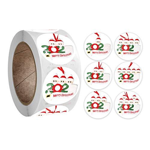 JHD 500Pcs / Roll Frohe Weihnachten Aufkleber 2020 Xmas Quarantine Survivor Round Label Aufkleber für Karten Present Envelopes Boxen Bag Seal Dekorationen