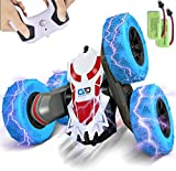 BEZGAR 24 Toy Grade 1:28 Scale Remote Control Car, 4WD Double Sided Rotating 360° Flips Electric Toy Stunt Cars RC Vehicle Truck Crawler with Two Rechargeable Batteries for Boys Kids Teens and Adults