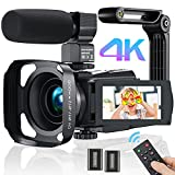 Videokamera Camcorder 4K WiFi, MELCAM Full Hd Video Camcorder 30FPS Vlogging Kamera für YouTube 48MP 16X Digital Zoom 3.0' Touchscreen IR Nachtsicht Camcorder mit Mikrofon,Fernbedienung