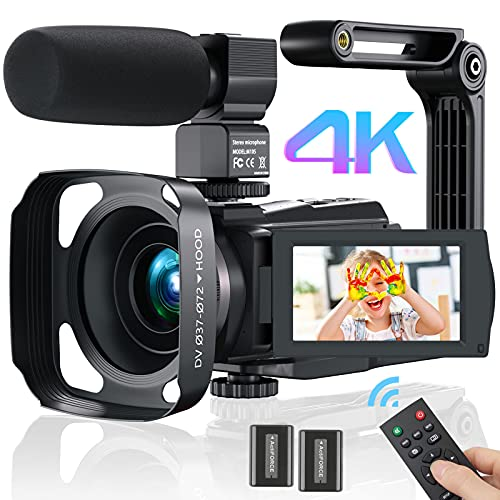 Videokamera Camcorder 4K WiFi, MELCAM Full Hd Video Camcorder 30FPS Vlogging Kamera für YouTube 48MP 16X Digital Zoom 3.0