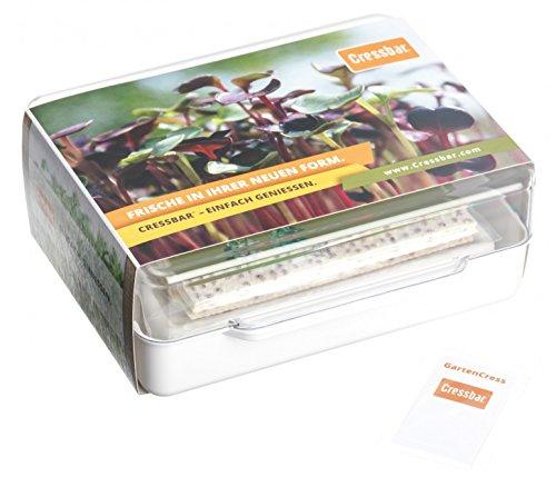 Cressbar® Starterkit weiß - 3 Cressbar Kresseschalen mit 24 Cresspads aus Gartenkresse, Radieschen, Rucola, Senf