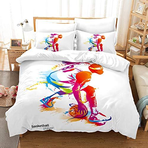 AYMAING Bettwäsche Set 135 x 200 cm Basketball Slam Dunk Sport Stil 3D Premium Bettbezug und Kissenbezug Kinderbettwäsche Jungs Mann Bettwäsche
