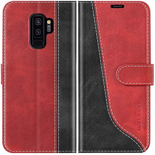 Mulbess Funda para Samsung S9 Plus, Funda con Tapa Samsung Galaxy S9 Plus, Funda Samsung Galaxy S9 Plus Libro, Funda Cartera para Samsung Galaxy S9 Plus / S9+ Carcasa, Vino Rojo