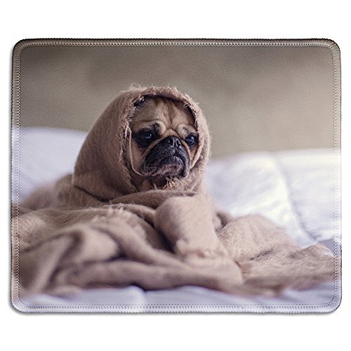 dealzEpic - Animal Art Mousepad - Natural Rubber Mouse Pad Printed with A Cute Pug Dog Wrapped in a Blanket