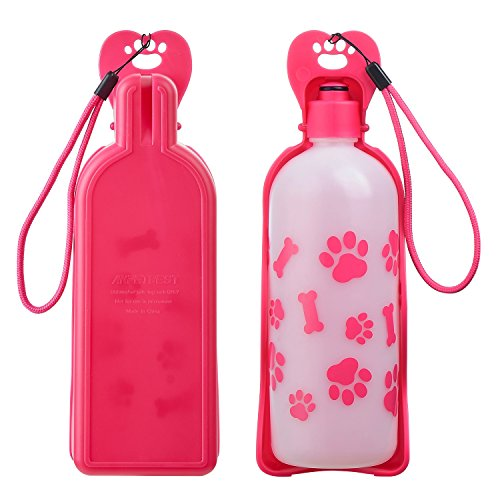 Anpetbest Dog Water Bottle Pink, Pet Water Dispenser Drink Bottle for Daily Walks, Hiking, Camping, Beach and on The Go, BPA Free Plastic (22 fl oz)