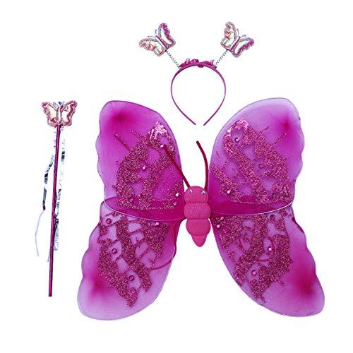 KESYOO 2Pc / Set Mädchen Fee Flügel Kostüm Schmetterling Flügel Kostüm Schmetterling Fee Flügel für Kleinkind Mädchen Verkleiden Rollenspiel (Lila/Rosig)