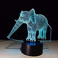 Dtcrzj Hi エレガント象ランプアメージング3D錯覚は7色ランプとしてホームライトとしてナイトライトを導いた男の子女の子のためのかわいいTs