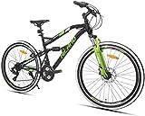 HILAND Bicicleta de montaña de 26 pulgadas con suspensión completa con freno de disco para hombres, mujeres, niños y niñas, 21 velocidades, transmisión Shimano, color blanco y negro
