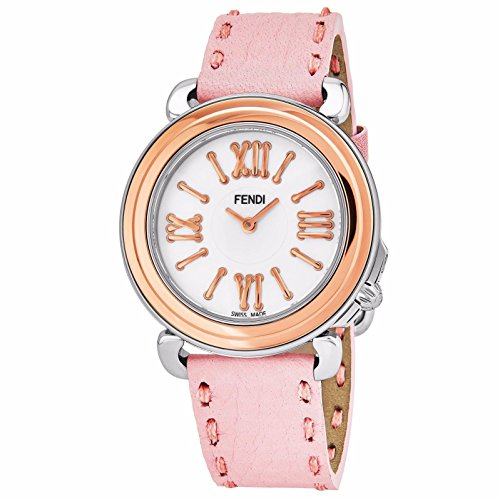Fendi Selleria Womens Stainless Steel Fashion Swiss Watch - Mother of Pearl Face Rose Gold Bezel Pink Leather Strap Vintage Dress Watch for Women with Interchangeable Band F8012345H0-SSN18R07S