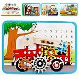 VATOS Zahnrad Holzpuzzle für Kinder, mit 4 Automuster, Motorikspielzeug Holzspielzeug, mit 4 Automuster, Perfekt Pädagogisch Montessori Spielzeug ab 3 4 5 6+Jahre Jungen Mädchen